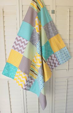 Baby Blanket Unisex Patchwork Baby Blanket by theredpistachio