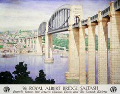 ENGLAND - CORNWALL - Saltash, Vintage Railway Poster