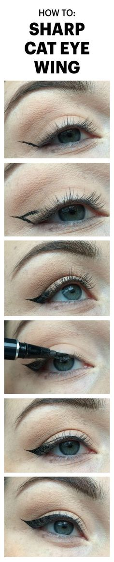 This Easy Trick Will Create a Sharp Wing On Your Cat Eye, Every Time: A Reddit user named lylhrs posted an in-depth step-by-step tutorial demonstrating a foolproof method for creating supersharp cat-eye wings. Here's how. | allure.com: