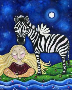 "Winged Zebra print girls room meditating meditation animal art whimsical folk art childrens wall decor - ""The Peacemaker"""