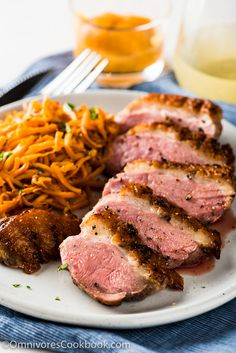Pan Seared Duck Breast with Persimmon Grapefruit Sauce byy omnivorescookbook: With this combination you can create a luxurious fine dining experience in just 30 minutes. #Duck #Persimmon #Quick