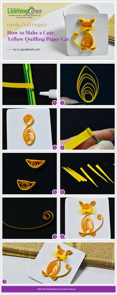 Family Craft Project - How to Make a Cute Yellow Quilling Paper Cat from LC.Pandahall.com