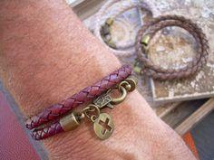 Mens  Double Wrap Leather Bracelet with by UrbanSurvivalGearUSA