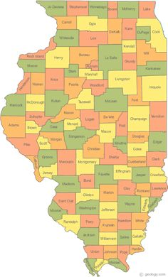 A map of Illinois Counties with County seats and a satellite image of Illinois with County outlines. Chicago River, Chicago Lake, County Map, Southern Illinois, Wall Maps, Mississippi State, Vintage Maps, State Map, Lake Michigan