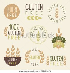 Gluten free labels. Vector EPS 10 hand drawn signs.