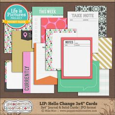 LIP KIT: Hello Change 3x4 Journal & Filler Cards for Pocket Style Scrappers. Perfect for Project Life #lifeinpictures #everyday