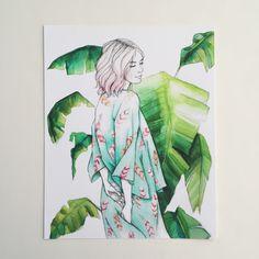 Il sagit dune impression Giclée non encadrés dune aquarelle originale dune charmante dame portant un kimono avec une plume dimpression. Ses