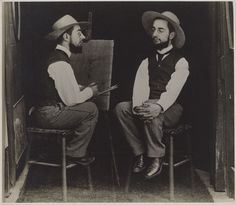 Photo manipulation before the digital age, Maurice-Guilbert's photo of Henri de Toulouse-Lautrec as artist and model.