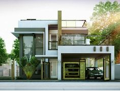 Modern Duplex House Designs Elvations + Plans | CAD Drawing