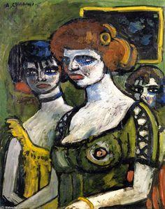 Les filles en vert, huile sur toile de Auguste Chabaud (1882-1955, France)