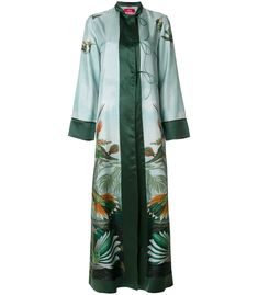 For Restless Sleepers Forest and Bird Print Kimono Dress - Green Long Sleeve Dress Green Long Sleeve Dress, Long Sleeve Kimono, Long Kimono, Dress Long, Long Dresses, Maxi Dresses, Kimono Coat, Kimono Dress, Silk Kimono