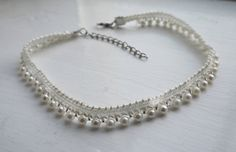 All-round Pearl Choker. Handmade with silver findings. Choice of two different styles. Pearl Choker, Pearl Necklace, Uk Shop, Chokers, Beige, Etsy Shop, Trending Outfits, Jewellery, Pearls