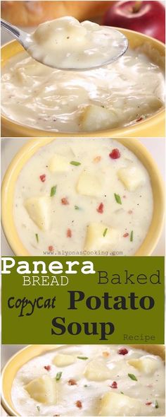 Baked Potato Soup – Panera Bread Copycat Recipe This baked potato soup is so easy to prepare and you probably won't even tell a difference between Panera Bread's version or this! Panera Baked Potato Soup, Best Potato Soup, Creamy Potato Soup, Loaded Baked Potato Soup, Baked Potatoes, Roasted Potato Soup Recipe, Irish Potato Soup, Potato Rice, Cheesy Potatoes