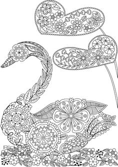 Three (3) Printable Nicely Shaped Coloring Pages; Swan-shaped, Butterfly-shaped, Fish-shaped adult coloring pages