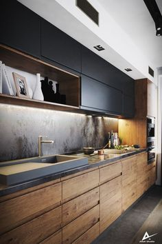 Idée cuisine avec meuble haut et décrocher plafond avec spot – Carrelage cuisine – Die schönsten Einrichtungsideen - Modern Kitchen Room Design, Luxury Kitchen Design, Home Decor Kitchen, Interior Design Kitchen, Kitchen Ideas, Best Kitchen Designs, Kitchen Layout, Industrial Style Kitchen, Industrial Interior Design