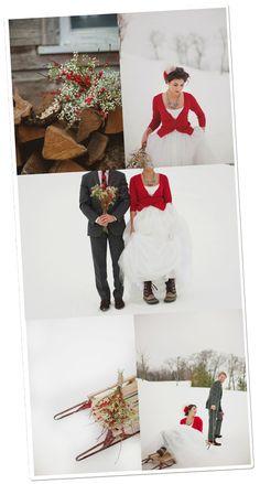 mariage d'hiver en rouge