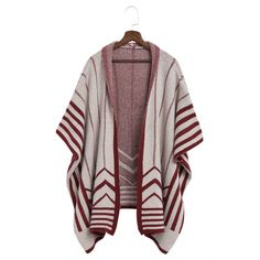 Yoins Burgundy Long Striped Shawl Knitted Cardigan (349.590 IDR) ❤ liked on Polyvore featuring tops, cardigans, black, stripe cardigan, striped open front cardigan, stripe top, striped top and burgundy top