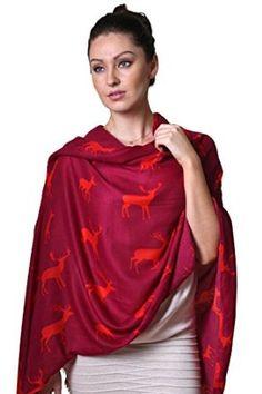 Women's Deer Moose Elk Animal Fashion Shawl Christmas Holiday Scarf: Amazon.co.uk: Clothing