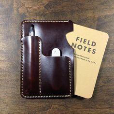 Horween Leather Sleeve for Field Notes or Moleksine with Pen/Knife/Card Slot