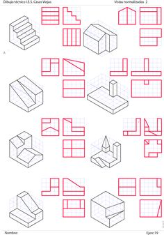 ejercicios de vistas resueltos pdf - Buscar con Google Isometric Sketch, Isometric Art, Isometric Design, Architecture Drawing Sketchbooks, Architecture Concept Drawings, Architecture Diagrams, Architecture Portfolio, Geometric Shapes Art, Geometric Drawing