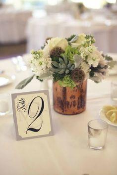 copper weddings | copper centerpiece, copper inspiration