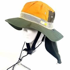 ROXY Women's Outdoor Hiking Camping Bucket Sun Hat with Neck Cover Olive Orange