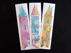 Book marks 6 colourful Illustrations of tall houses colourful