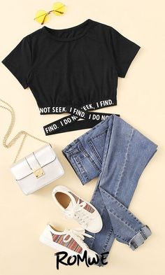 Contrast Slogan Criss Cross Waist Tee Search - Contrast Slogan Criss Cross Waist Tee Search Source by annaminabla - Cute Lazy Outfits, Teenage Girl Outfits, Girls Fashion Clothes, Teen Fashion Outfits, Teenager Outfits, Swag Outfits, Retro Outfits, Outfits For Teens, Stylish Outfits