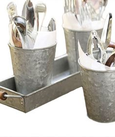 Galvanized Metal Condiment & Tray Set via Real Simple
