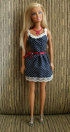"Barbie First Dress. Click the ""Mellebug and Me"" link forpattern"