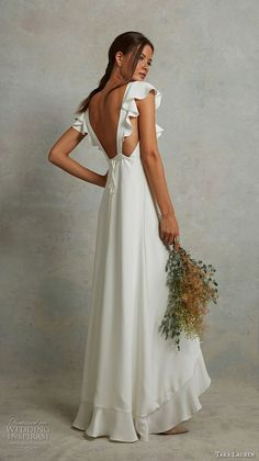 Other Drew by Tara Lauren wedding dress currently for sale at off retail. Chiffon Wedding Gowns, Tea Length Wedding Dress, Wedding Dresses Plus Size, Princess Wedding Dresses, Best Wedding Dresses, Boho Wedding Dress, Bridal Dresses, Tulle Wedding, Gold Wedding