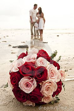 Beach Wedding With Bride, Groom, And Children Stock Photo - Image: 18533290