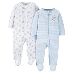 Just One You Made by Carter's Baby Boys' Doggy 2-Pack Footed Sleeper - Blue