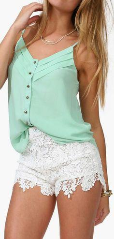 Mint Tank Top // Lace Shorts (longer shorts)