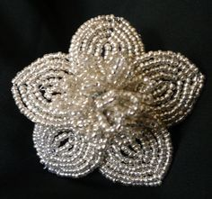 tutorial.  Silver & Black French Beaded Flowers