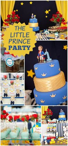 A boy birthday party with a theme from The Little Prince book with amazing decorations and treats!  See more party planning ideas at CatchMyParty.com!