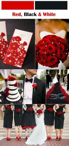 Classic Red Fall and Winter Wedding Color palettes classic red, black and white wedding inspirationclassic red, black and white wedding inspiration Black Red Wedding, Red And White Weddings, Red White Wedding Dress, Burgundy Wedding, Dream Wedding, Wedding Day, Trendy Wedding, Wedding Pins, Party Wedding