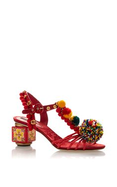 Red Pom Pom Embellished Sandals With Painted Heel by DOLCE & GABBANA Now Available on Moda Operandi
