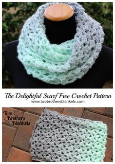 Delightful Scarf- Free Crochet Pattern - Two Brothers Blankets - - The Delightful Scarf crochet pattern is a free pattern using chunky weight yarn to create a gorgeous cowl or infinity scarf! Crochet Infinity Scarf Free Pattern, Chunky Crochet Scarf, Crochet Scarves, Crochet Shawl, Crochet Beanie, Easy Crochet, Crochet Yarn, Crochet Blankets, Crochet Granny
