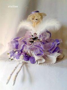 fioletowo-biała kryształkowa dama aniołek.