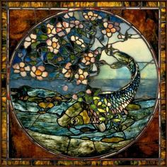 """John La Farge's """"The Fish"""" (or """"The Fish and Flowering Branch"""") window, about 1890. Museum of Fine Arts, Boston."""