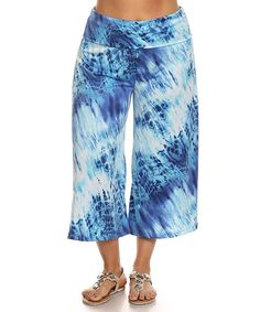 This Blue Tie-Dye Gaucho Pants - Plus by Chatoyant is perfect! #zulilyfinds