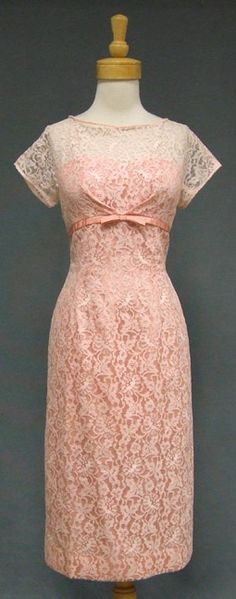 """Pretty Pink Lace 1960's Sweetheart Cocktail Dress: """"A pretty 1960's dress in sheer pink nylon lace over acetate. Dress has a sheer yoke and sleeves with a heart shaped strapless acetate liner. Pink acetate band/bow under bust."""" #vintage"""
