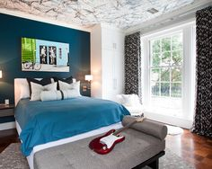 Ink Blot the ceiling in different colors, this would work with many different styles and themes, and for both kids and adults!    Teen Room Paint Ideas Design, Pictures, Remodel, Decor and Ideas - page 10