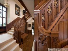 European Tudor offers exquisite architectural details like this staircase | 2424 W Lake Of The Isles Parkway, Minneapolis, MN 55405