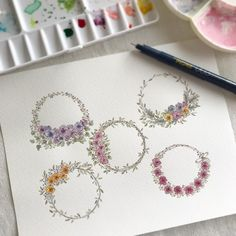 Wreath Watercolor, Cross Stitch Borders, Embroidery Patterns, Floral Wreath, Paper Crafts, Colours, Photo And Video, Tattoos, Cards