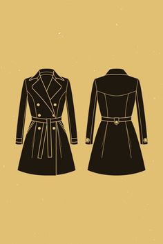 Luzerne trench coat | Deer & Doe #D0024  Close-fitting, unlined, double-breasted trench coat with princess seams. Pleats at front and back, diagonal welt pockets, and two-piece sleeves.