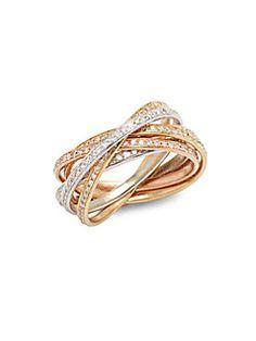 Effy - Diamond & 14K White Yellow & Rose Gold Ring
