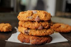 The Best Nut-Free Paleo Chocolate Chip Cookies  [⅔ c. coconut butter, slightly melted,  1¼ c. coconut sugar,  2 eggs, at room temperature,   2 t. pure vanilla extract,   ½ c. coconut flour,   1 t. baking soda,   ¼ t. salt,   1 c. choc chips]