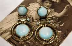 Hey, I found this really awesome Etsy listing at https://www.etsy.com/listing/262762206/vintage-howlite-clip-on-earrings-dyed